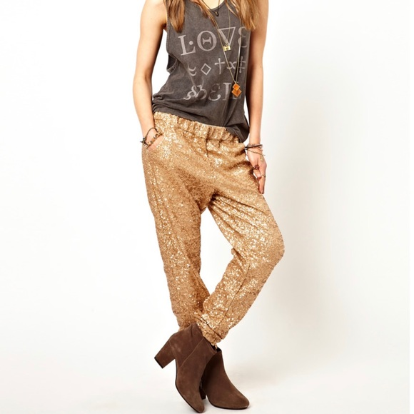 Free People Pants - Free People Sequin Party Jogger Champagne Gold ✨